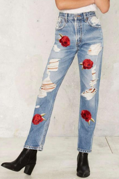 New Fashion Cut Out Chic Floral Embroidered Straight Legs Casual Leisure Jeans