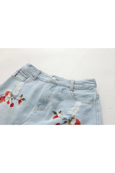 New Fashion Floral Embroidered Raw Edge Ripped A-Line Denim Mini ...