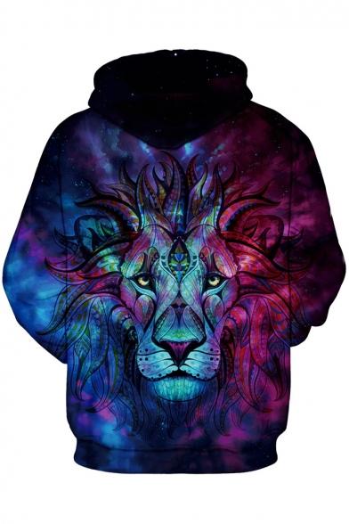b72cf8d9eeb7 ... Color Block Lion 3D Printed Drawstring Hooded Long Sleeve Zip Up Hoodie  Sweatshirt