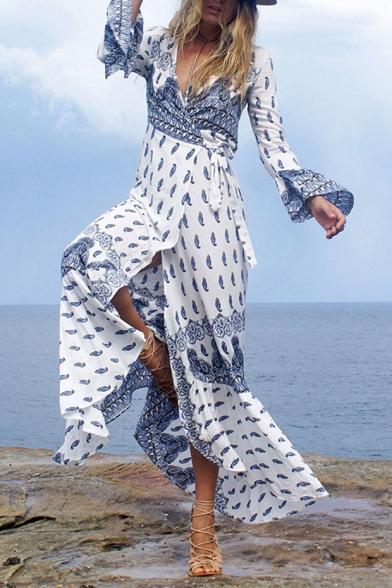 Holiday Beach Plunge Neck Long Sleeve Maxi Split Wrap Dress