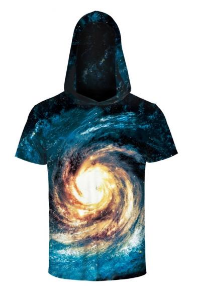 Unisex Hooded Short Sleeve Galaxy 3D Printed Tee