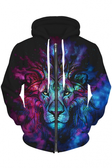 4d0e3b25f8d4 ... Color Block Lion 3D Printed Drawstring Hooded Long Sleeve Zip Up Hoodie  Sweatshirt ...
