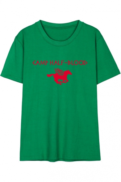 Letter Flying Horse Printed Round Neck Short Sleeve Pullover T-Shirt
