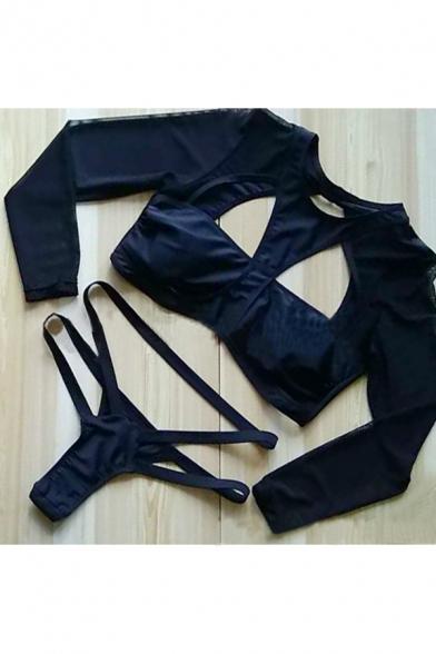 Sleeve Mesh Swimwear Out Bikini Long New Plain Hollow Sheer Arrival ngqzwYIv