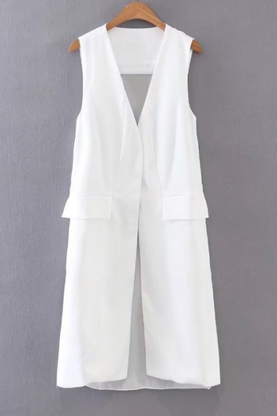 New Arrival Simple Plain Sleeveless Chiffon Patchwork Back Tunic Vest