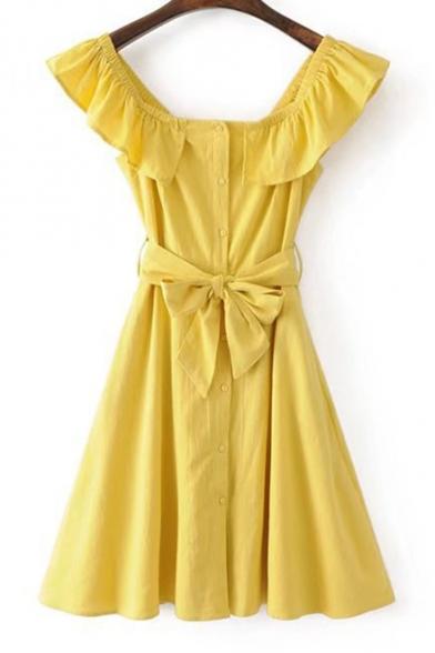 cc09e76474 Boat Neck Ruffle Hem Bow Tie Waist Plain Buttons Down Mini A-Line Dress