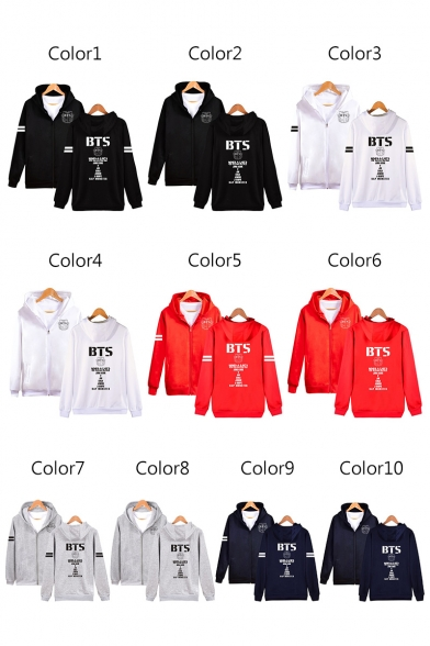 Sleeve Fashion Long Letter Printed Zip Hooded Up Sweatshirt Striped txrIr1q