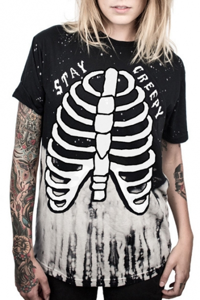 New Arrival 3D Skeleton Pattern Round Neck Short Sleeve Loose T-Shirt