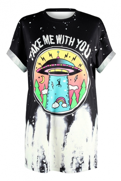 T Letter Arrival UFO Loose Short 3D Oversize Shirt Pattern Sleeve New qzftO7
