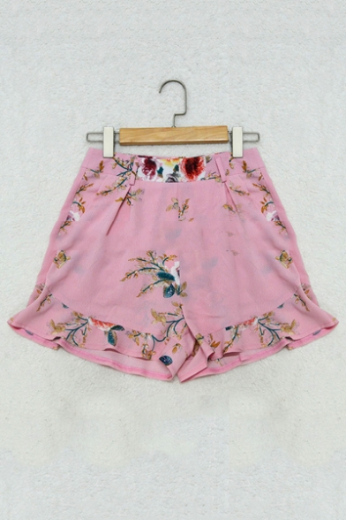New Arrival High Waist Floral Printed Ruffle Hem Casual Shorts with Belt