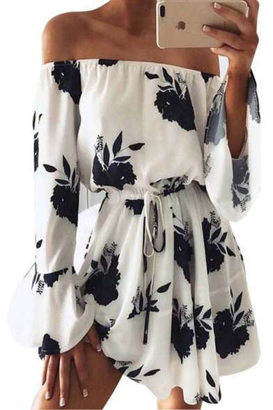 Baycheer / Sexy Off The Shoulder Long Sleeve Elastic Waist Floral Printed Mini Dress