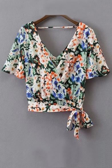 Summer's New Fashion Floral Printed V Neck Short Sleeve Bow Hem Blouse