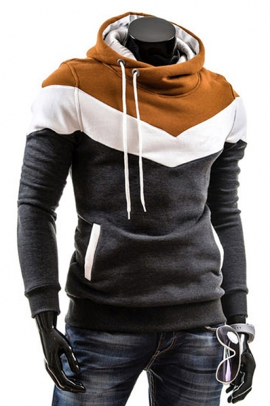 Fashion Color Block Long Sleeve Casual Fitted Pullover Hoodie
