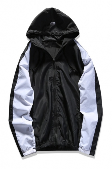 Letter Printed Color Block Long Sleeve Hooded Zip Placket Coat