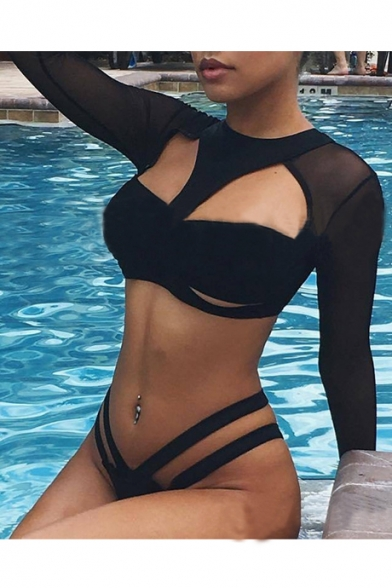 New Arrival Hollow Out Sheer Mesh Long Sleeve Plain Bikini Swimwear