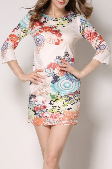 New Arrival Round Neck 3/4 Sleeve Floral Printed Mini Bodycon Dress