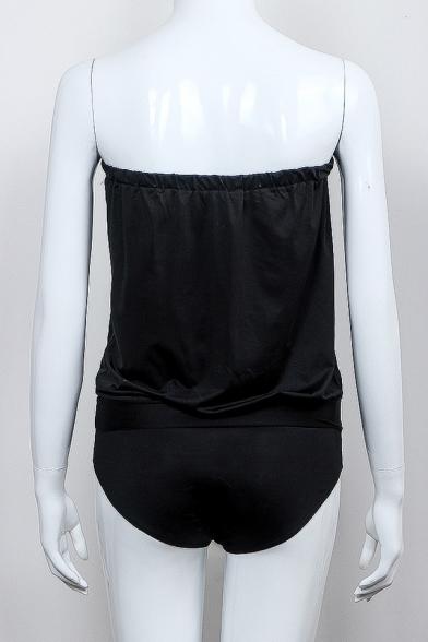 New Fashion Bandeau Sleeveless Plain Sexy One Piece Swimwear