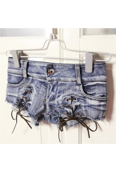 New Fashion Sexy Low Waist Lace-Up Front Hot Pants Denim Shorts