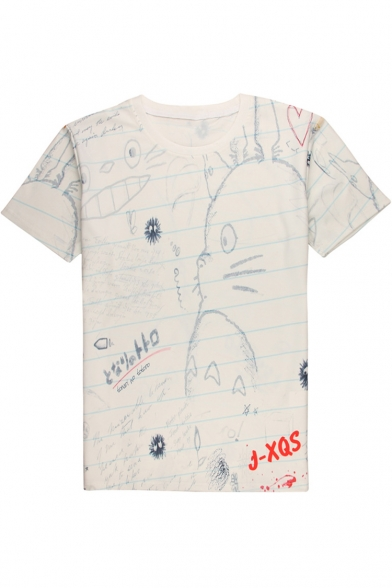 Купить со скидкой New Stylish Cartoon Graffiti Pattern Round Neck Short Sleeve Casual Tee