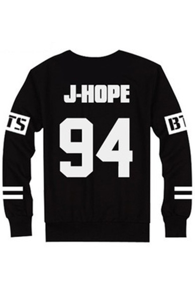 Pullover Neck Long Printed Sweatshirt Sleeve Unisex Letter Round Number xtwS07YqH