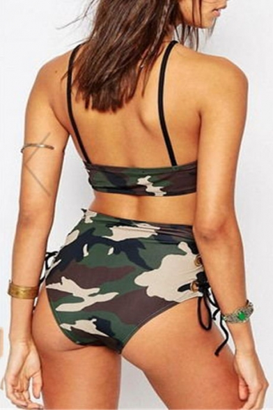 Women's Camouflage Color Block Printed Halter Lace Up High Waist Swimwear Sets