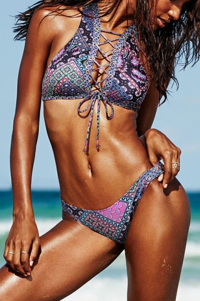 Women's Lace-Up Front Tribal Color Block Printed Hipster Swimwear Sets