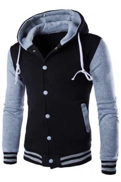 Breasted Contrast Long Single Hooded Hoodie Coat Sleeve Drawstring wxPqOxX4