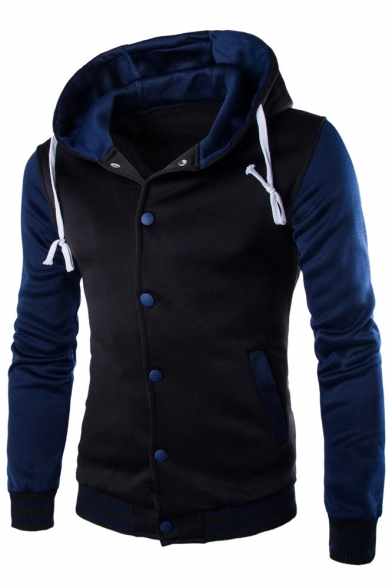 Contrast Sleeve Single Coat Hoodie Long Breasted Hooded Drawstring rIw85rqxZ
