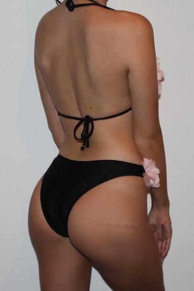 New Arrival Chic Petal Design Halter Neck Beach Bikini Swimwear
