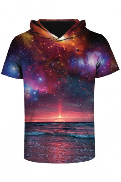 Printed Block Tee Hooded Short Unisex Galaxy Sleeve 3D Color 0qdXCqS8xw