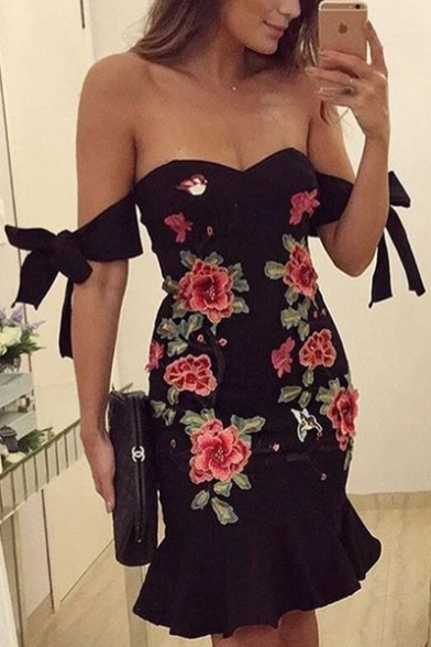 Chic Floral Embroidered Off The Shoulder Tie Sleeve Fishtail Hem Midi Bodycon Dress