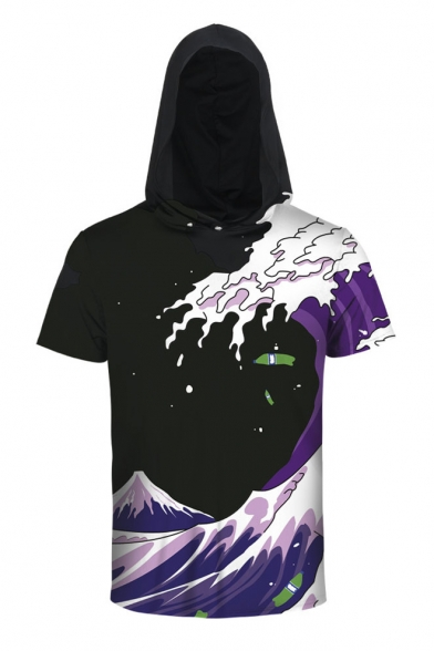 Digital Color Hooded Sleeve Short Printed Block Wave Tee gqAwgF4a