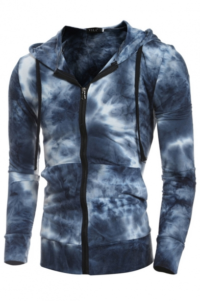 New Arrival Ombre Long Sleeve Zip Up Casual Leisure Hoodie