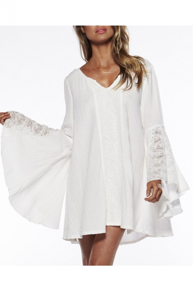 New Collection Simple Plain V Neck Long Sleeve Flared Cuff Lace Inserted Mini Dress