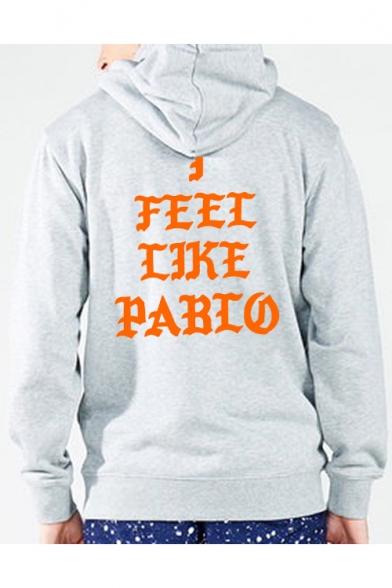 Letter I FEEL LIKE PABLO Printed Hooded Long Sleeve Hoodie Sweatshirt