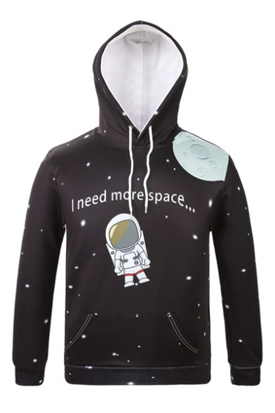 New Arrival Cartoon Astronaut Printed Long Sleeve Hoodie with Pockets