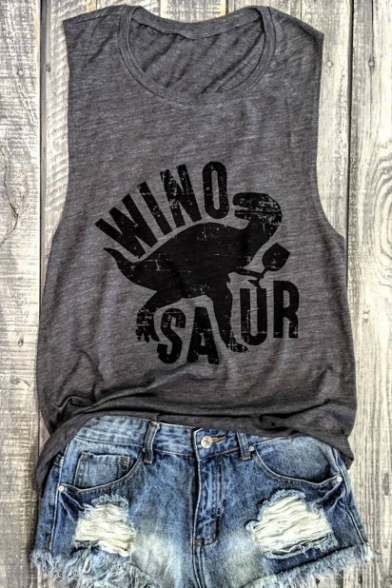 Cartoon Graphic Round Summer Neck Tee Sleeveless Dinosaur Printed aRddwfx