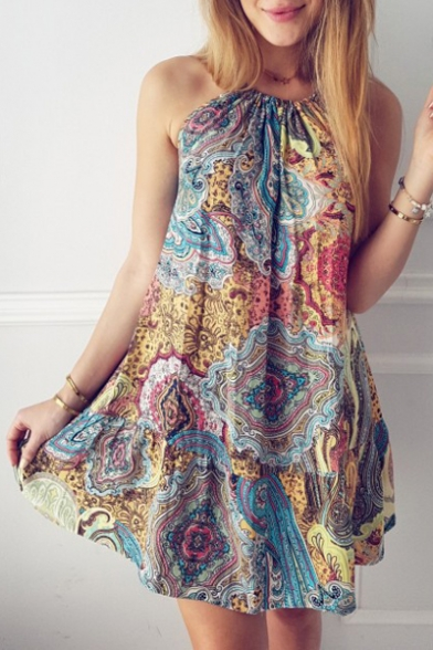 Loose Swing Halter Casual Printed Beach Mini Neck Boho Sleeveless Dress X6gYfq