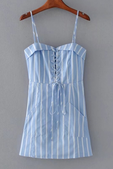Chic Spaghetti Straps Classic Striped Pattern Mini A-Line Slip Dress