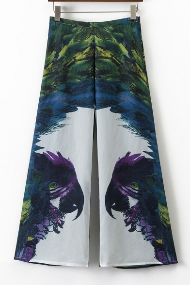 Color Block Parrot Printed Zip Side High Waist Wide Leg Pants