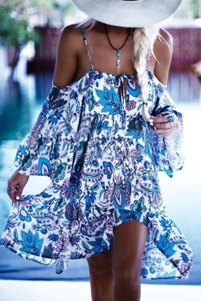 Fashion Floral Printed Spaghetti Straps Long Sleeve Cold Shoulder Midi Beach Dress