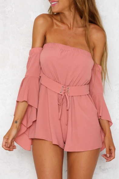 7625f402286 New Arrival Plain Off The Shoulder Flared Sleeve Loose Beach Rompers -  Beautifulhalo.com