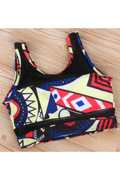 Sheer Mesh Inserted Round Neck Sleeveless Geometric Print Tankini Swimwear
