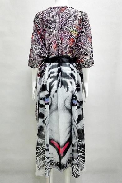 Chiffon Printed Animal Up Tie Cover Swimwear Beach Summer's Sun Waist aRF4cqw