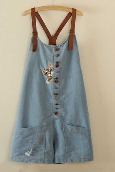 Adjustable Straps Cartoon Cat Embroidered Buttons Down Loose Leisure Overall Shorts