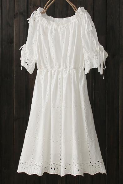 Basic Simple Hollow Out Boat Neck Short Sleeve Mini Plain A-Line Dress