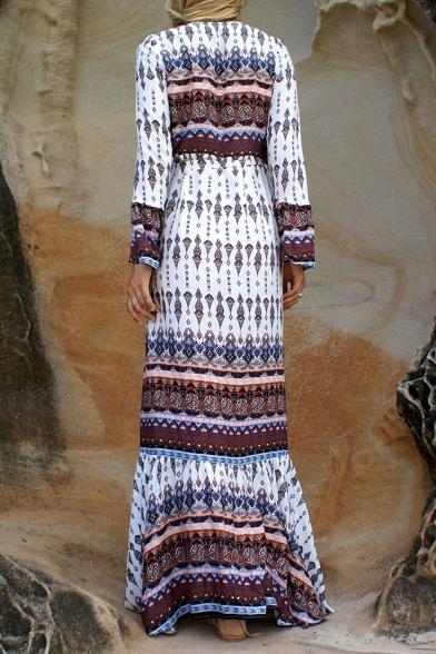 Boho Style Plunge Neck Long Sleeve Tribal Printed Split Front Maxi Dress