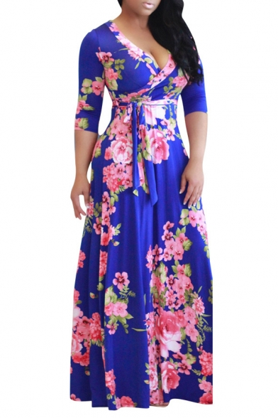 Chic Floral Printed 3/4 Sleeve Plunge Neck Maxi Wrap Dress