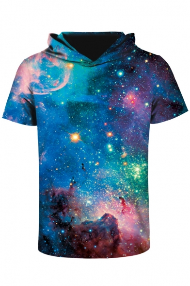 Fantasy Galaxy 3D Color Block Printed Short Sleeve Hooded Tee