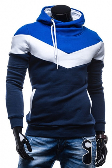 Sleeve Long Hoodie Pullover Casual Fashion Block Color Fitted qEOwzt6